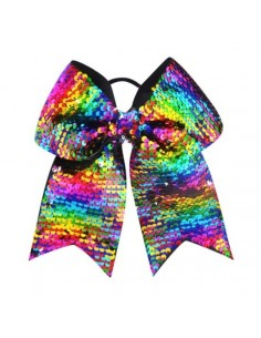 Cheer Bow with sequins, rainbow