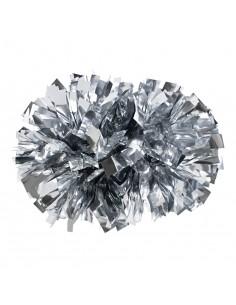 """Pom pon 4"""" metallico argento"""
