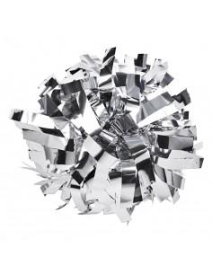 "Metallic poms 6"", silver"