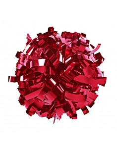 "Metallic poms 6"", red"