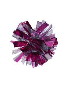 Mini poms - Fuchsia and Silver